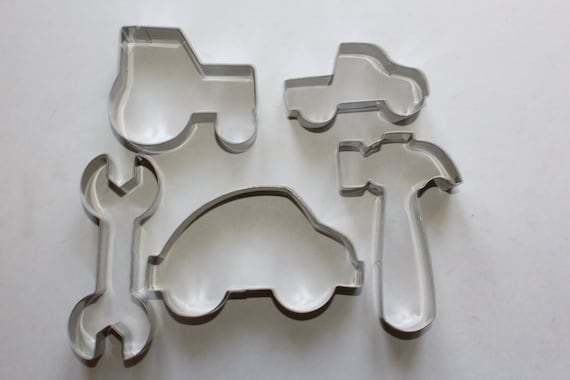 boys toys cookie cutter set 5pc tractor car hammer ute spanner etsy