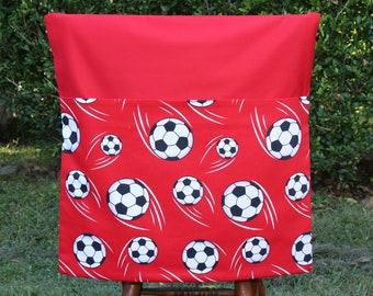 School Chair Bag - LARGE 45cm Wide - Red Soccer Balls on Red Pocket Seat Sack Boys/Girls