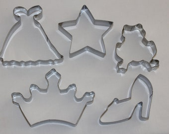 Fairytale Princess COOKIE CUTTER SET 5 pc stainless steel crown slipper frog dress gown star shoe tiara