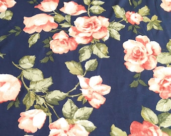 1f75b330e01 Coral Roses on Navy, Brushed Knit, Floral Rose Print Stretch Jersey Knit  Fabric, 4 way stretch, by the yard