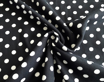 6f00a9b14f5 Black and White Polka Dot Knit, Double Brushed Poly Knit, Polka dot Stretch  Jersey Knit Fabric, 4 way stretch, by the yard