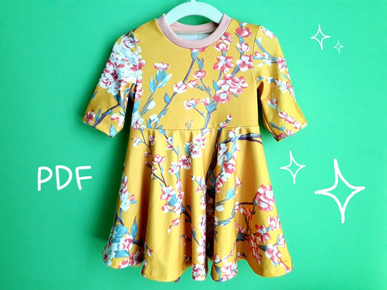 8c279539939 Long Sleeve Baby Dress PDF Sewing Pattern Flared Circle | Etsy