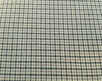 Deadstock Plaid Suiting Fabric with Stretch, Black Tan and Mauve, by the yard