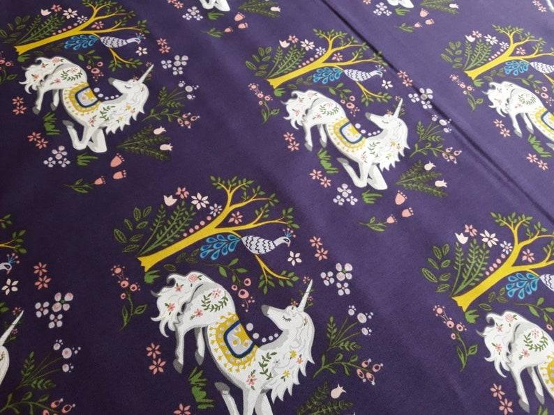 Magical Creatures Monaluna Unicorn Dreams Organic Cotton Poplin Fabric Purple Fairytale by the yard by the  or yard Unicorns are real