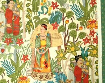 Frida Fabric,  Frida's Garden Tea, Alexander Henry Fabrics, Garden Scene all over print, folklorico collection, cotton, by the yard