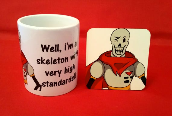 Papyrus Art and Quote Undertale Inspired Tea Coffee Mug 10oz & Coaster