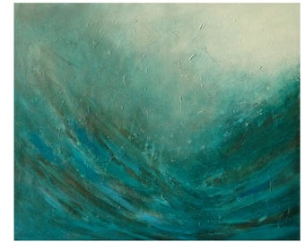 Teal Blue Abstract Seascape Painting Tones Black Original Etsy