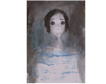 grey blue white woman portrait painting figurative dark light face vertical Original Artwork Wall art Gift for women sister friend bedroom