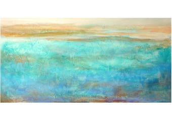 Large Original seascape coastal painting abstract blue turquoise beige Horizontal textured canvas wall art bedroom decor gift for women men