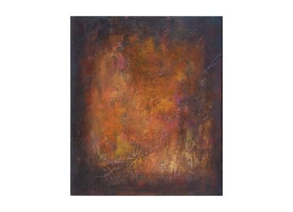 Tableau abstrait jaune orange cuivré noir texture original etsy