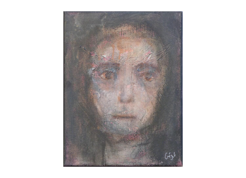 portrait visage femme tableau sombre vertical relief original etsy. Black Bedroom Furniture Sets. Home Design Ideas
