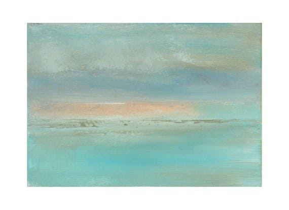 Petit tableau bleu turquoise rose ciel nuage mer pastel   Etsy
