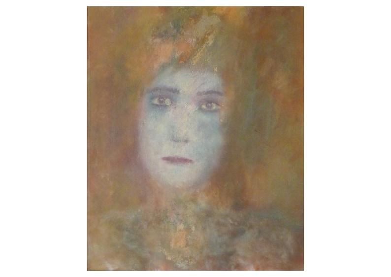 Tableau Peinture Portrait Femme Original Triste Blonde Moderne Etsy