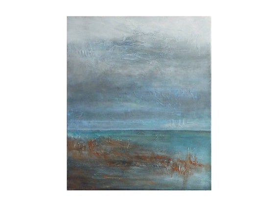 Abstract Coastal Painting Original Seascape Cloudy Sky Sea Storm Blue Grey Canvas Unique Modern Texture Wall Art Decor Gift For Women Men