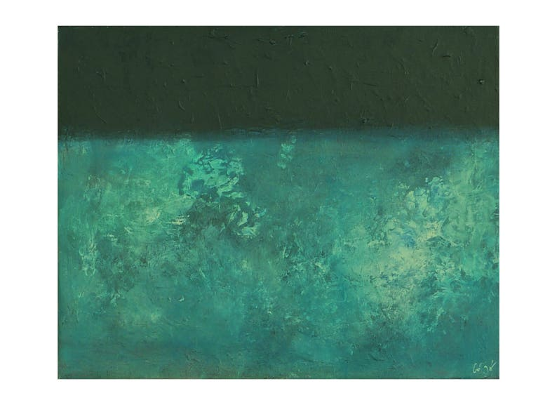 Tableau Abstrait Moderne Bleu Pétrole Canard Noir Peinture Etsy