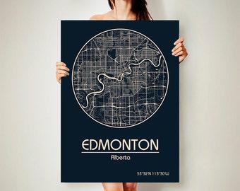 EDMONTON Alberta CANVAS Map Edmonton Alberta Canada Poster City Map Edmonton Alberta Canada Art Print Edmonton Alberta Canada