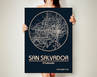 SAN SALVADOR CANVAS Map San Salvador Poster City Map San Salvador Art Print San Salvador