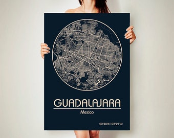 GUADALAJARA Mexico CANVAS Map Guadalajara Mexico Poster City Map Guadalajara Mexico Art Print Guadalajara Mexico