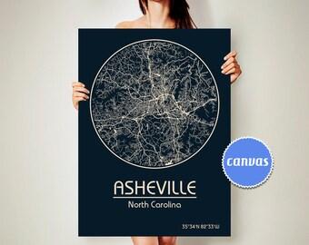 ASHEVILLE North Carolina CANVAS Map Asheville North Carolina Poster City Map Asheville North Carolina Art Print Asheville North Carolina