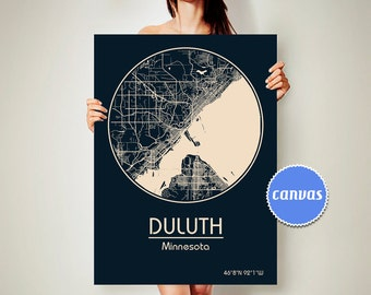DULUTH Minnesota CANVAS Map Duluth Minnesota Poster City Map Duluth Minnesota Art Print Duluth Minnesota