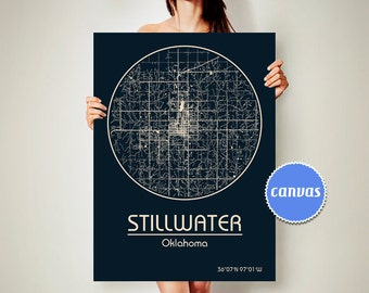 STILLWATER Oklahoma CANVAS Map Stillwater Oklahoma Poster City Map Stillwater Oklahoma Art Print Stillwater Oklahoma