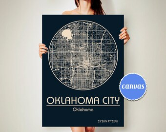 OKLAHOMA CITY Oklahoma CANVAS Map Oklahoma City Poster City Map Oklahoma City Art Print Oklahoma City  Oklahoma