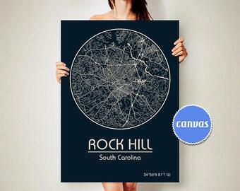 ROCK HILL South Carolina CANVAS Map Rock Hill South Carolina Poster City Map Rock Hill South Carolina Art Print Rock Hill sc
