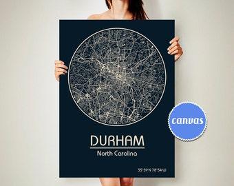 DURHAM North Carolina CANVAS Map Durham North Carolina Poster City Map Durham North Carolina Art Print Durham North Carolina