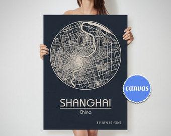 SHANGHAI China CANVAS Map Shanghai China Poster City Map Shanghai China Art Print Shanghai China