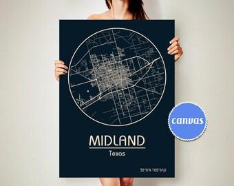 MIDLAND Texas CANVAS Map Midland Texas Poster City Map Midland Texas Art Print Midland Texas