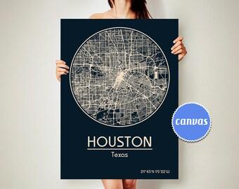 HOUSTON Texas CANVAS Map Houston Texas Poster City Map Houston Texas Art Print Houston Texas