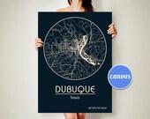 DUBUQUE Iowa CANVAS Print Map Dubuque Iowa Poster City Map Dubuque Iowa Wall Art Print Dubuque Iowa Black White Ivory Beige Blue Coffee