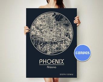 PHOENIX Arizona CANVAS Map Phoenix Arizona Poster City Map Phoenix Arizona Art Print Phoenix Arizona
