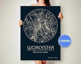 WORCESTER Massachusetts CANVAS Map Worcester Massachusetts Poster City Map Worcester Massachusetts Art Print Worcester Massachusetts
