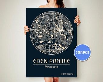 EDEN PRAIRIE Minnesota CANVAS Map Eden Prairie Minnesota Poster City Map Eden Prairie Minnesota Art Print Eden Prairie Minnesota