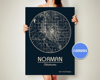 NORMAN Oklahoma CANVAS Map Norman Oklahoma Poster City Map Norman Oklahoma Art Print Norman Oklahoma