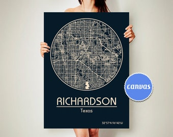 RICHARDSON Texas CANVAS Map Richardson Texas Poster City Map Richardson Texas Art Print Richardson Texas