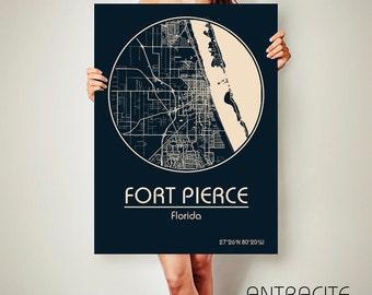 Fort Pierce Florida Map.Fort Pierce Fl Map Etsy