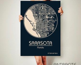 Map Sarasota Florida.Sarasota Florida Map Etsy