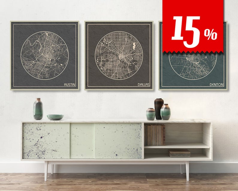 Map Of Texas Largest Cities.3 Square Maps Of Texas With 15 Discount Largest Cities Austin Dallas Denton City Maps Printed On Canvas Maps Archtravel
