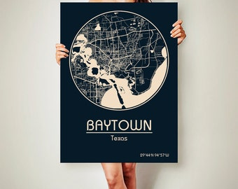 BAYTOWN Texas Map Baytown Poster City Map Baytown Texas Art Print Baytown Texas poster Baytown Texas map art Poster Baytown
