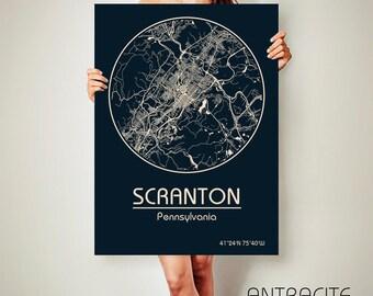 SCRANTON Pennsylvania CANVAS Map Scranton Pennsylvania Poster City Map Scranton Pennsylvania Art Print Scranton Pennsylvania