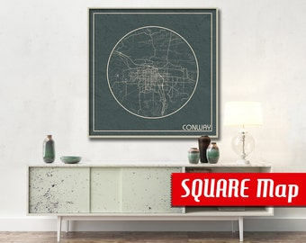 CONWAY AR SQUARE Map Conway Arkansas Poster City Map Conway Arkansas Art Print Conway Arkansas poster Conway map