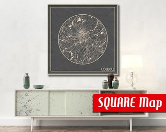 LOWELL MA SQUARE Map Lowell Massachusetts Poster City Map Lowell Massachusetts Art Print Lowell Massachusetts poster Lowell map
