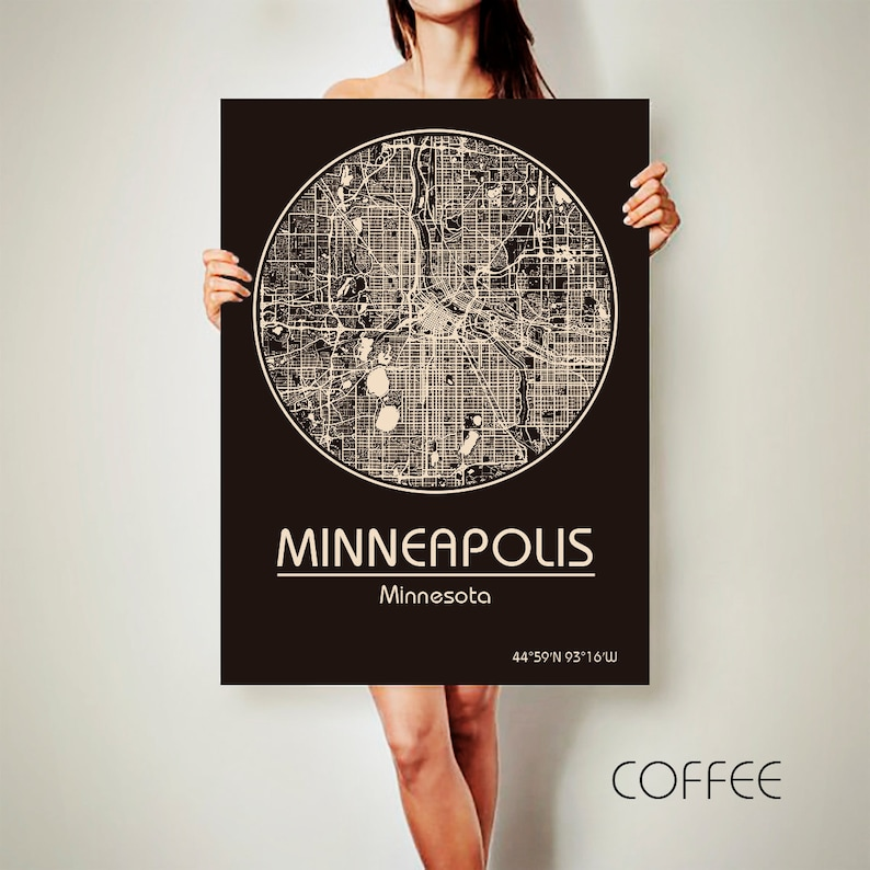 MINNEAPOLIS Minnesota CANVAS Map Minneapolis Minnesota Poster City Map  Minneapolis Minnesota Art Print Minneapolis Minnesota