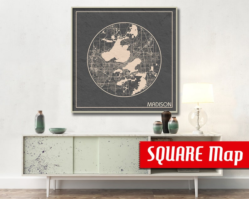 Madison Wi Exactly How Many Square >> Madison Wi Square Map Madison Wisconsin Poster City Map Etsy