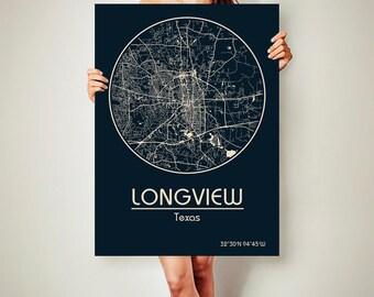 LONGVIEW Texas Map Longview Poster City Map Longview Texas Art Print Longview Texas poster Longview Texas map art Poster