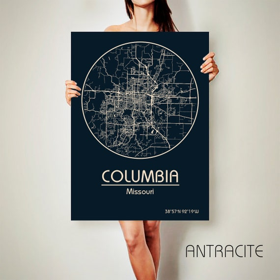 Columbia Missouri Canvas Map Columbia Missouri Poster City Map Columbia Missouri Art Print Columbia Missouri Poster Columbia Missouri