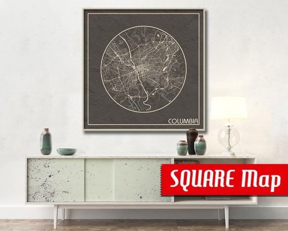 Columbia Sc Square Map Columbia South Carolina Poster City Map Columbia South Carolina Art Print Columbia South Carolina Poster Columbia Columbia