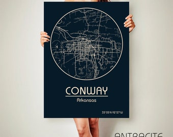 CONWAY Arkansas CANVAS Map Conway Arkansas Poster City Map Conway Arkansas Art Print Conway Arkansas poster Conway Arkansas map
